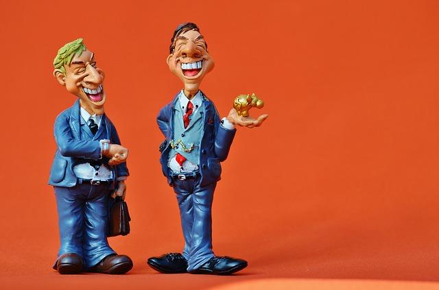 dva bankovní úředníci – figurky
